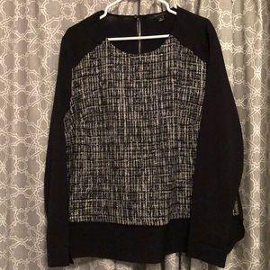 Black mixed media women's blouse